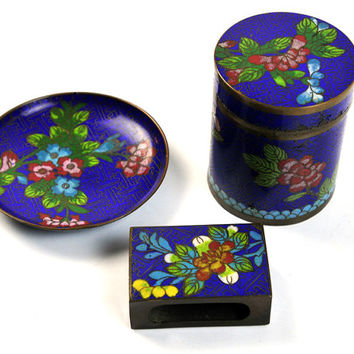 Cloisonne Art Deco Cigarette Smoker Set, Cigarette Holder, Match Box, Ashtray, Antique
