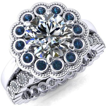Zinnia Round Moissanite 8 Prongs Milgrain Halo Accent Alexandrite Ring