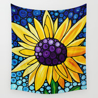 Basking In The Glory - Big bold beautiful yellow sunflower by Labor Of Love artist Sharon Cummings. Wall Tapestry by Sharon Cummings
