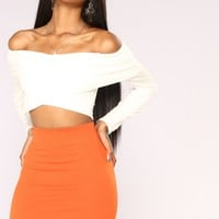 Feel Good Cropped Off Shoulder Top - Ivory