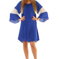 RESTOCK: One Kiss From You Dress: Royal Blue/Cream