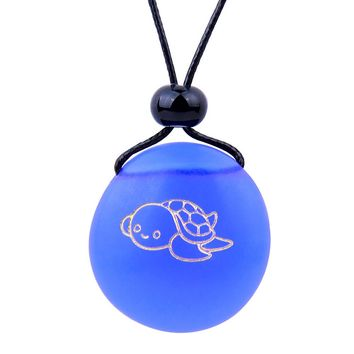 Amulet Frosted Sea Glass Stone Adorable Lucky Baby Turtle Good Luck Powers Royal Blue Adjustable Necklace