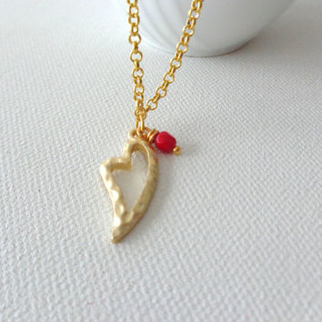 Gold heart necklace Valentines red