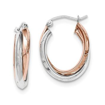 14K Two-Tone Gold Rose and White Gold Polished Oval Tube Hoop Earrings