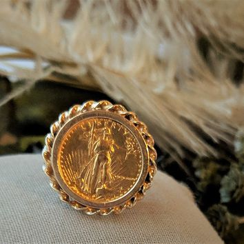 Vintage 1986 14k Gold American Eagle Coin Ring Size 8 1/2