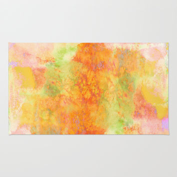 PASTEL IMAGININGS 3 Colorful Pretty Spring Summer Orange Yellow Peach Abstract Watercolor Painting Rug by EbiEmporium