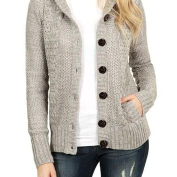 Chic Fleece Hooded Gray Button Down Cardigan Sweater
