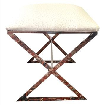 "Worlds Away ""X"" Upholstered Stool"