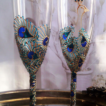 Set of 2 hand painted wedding champagne flutes Peacock theme personalized toasting glasses in gold and turquoise color