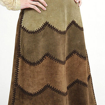 70s Boho Hippie Suede leather patchwork skirt