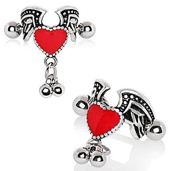 316L Stainless Steel Antique Winged Heart WildKlass Cartilage Cuff Earring
