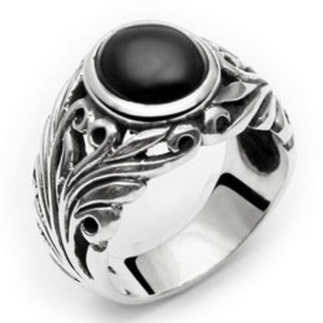 Natural Black Onyx Gemstone Ring .925 Silver Quality Jewelers for Men's Jewelry-Size 9