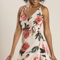 Amaya Blush Floral Wrap Dress