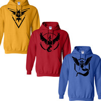 Pokemon Go Team Valor Team Mystic Team Instinct Pokeball Hoodies Red Blue Yellow