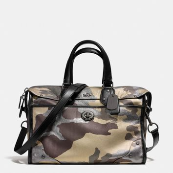 RHYDER SATCHEL IN CAMO PRINT METALLIC LEATHER