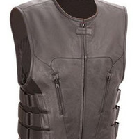 Mens Premium Leather Motorcycle Swat Team Vest with Interior Tactical Armor