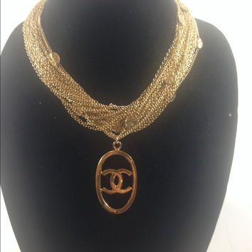 Gold Chain Necklace W Chanel Charm (Handmade)