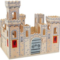 Melissa & Doug Deluxe Folding Medieval Wooden Castle - Hinged for Compact Stora
