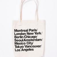 Cities Print Denim Tote | American Apparel