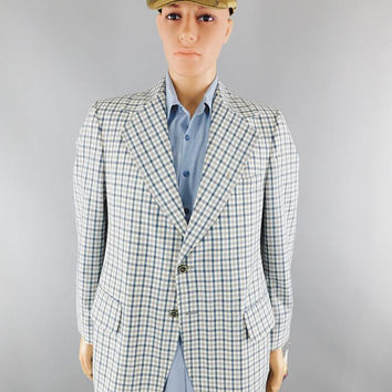 Vintage 1970s / 70s Party / JC Penney Blazer / Double Knit / Blue and White Check / Sport Coat / Size L / 40-42 / 70s Fashion / Anchorman