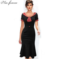 Retro New Vintage Patchwork dress Mickey Polka Dot Belt Short Sleeve women Pinup Summer Work Bodycon Mermaid Pencil Dress B62