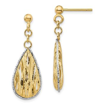 14k Yellow Gold & White Rhodium Teardrop Dangle Post Earrings