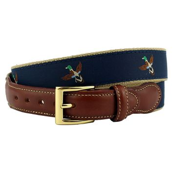 Duck Hunt Leather Tab Belt in Navy on Khaki Canvas by Country Club Prep