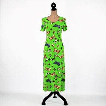 80s Knit Dress XS Small Green Butterfly Print Spring Dress Women Short Sleeve Dress 1980s Vintage Clothing Womens Clothing