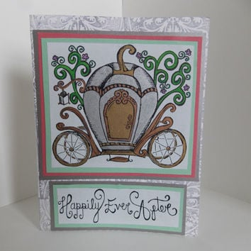 Fairytale Wedding Engagement Bridal Shower Handmade Greeting Card - Happily Ever After - Cinderella - Carriage - Coral and Mint
