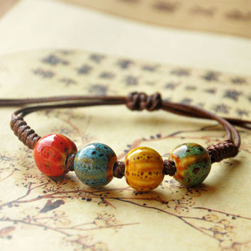 Ceramic Beads Charm Bracelet Heart Cuff Bangles Love Wristband Rope Link Chain Adjustable Women Fashion Jewelry Accessories