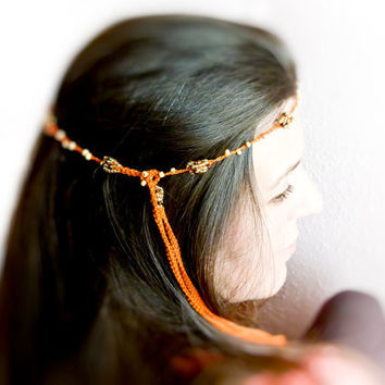 Summer crochet hairband Tangerine golden brown by Mashacrochet