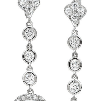 Women's 18kt white gold diamond dangle pave earrings 0.75 ctw G-VS2 quality with (2) 1.50ct Cushion White Sapphires