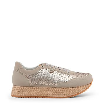 Gioseppo Grey Sequin Wedge Sneakers