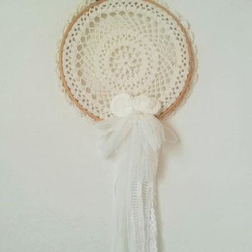 Large dream catcher, dream catcher, white dream catcher, wedding decoration, white dreamcatcher, whimsy, romantic, hoop art, whimsical,