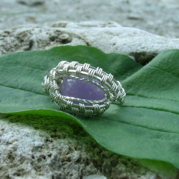 Wire Wrap Ring Purple Jade 925 Sterling Silver Size 6.5 Handmade Heady Jewelry
