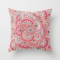 Coral, Peach & Magenta Wonderland Throw Pillow by Sarah Oelerich