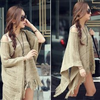 SETS WORD COLLAR KNITTING SWEATER TASSEL CLOAK SHAWL