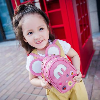 WERLO Lovely Mickey Baby Girls Bag High Quality Leather Kids School Bags For Children Girl School Backpack For Kindergarten Baby