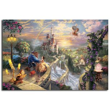 Thomas Kinkade Beauty And The Beast Dancing In The Moonlight HD Painting Wall Art Print On Canvas Decorative Picture Home Decor