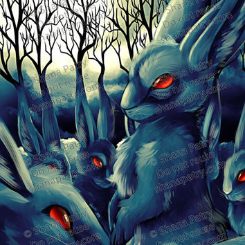 PRINT. Blue creepy rabbit with red glowing eyes illustration. Creepy Watership Down painting. Handsigned. 8.5x11 inches. Ready to frame.