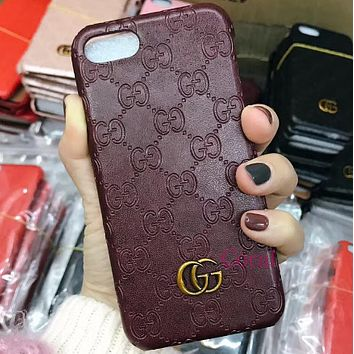 GUCCI leather iphone7plus mobile phone case protection iphone 6s / 8 / X wave female anti-drop cover i8