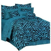 Karin Maki Zebra Complete Bedding Set, Queen, Blue