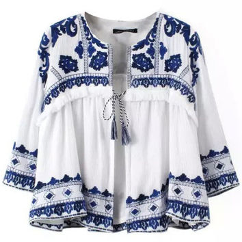 Autumn Retro Porcelain Designed Kimonos in  Blue and White