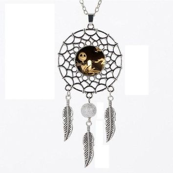 SUTEYI Fashion Style Dream catcher Necklace Nightmare Before Christmas Silver Jewelry Necklace Dreamcatcher Jewelry For Women