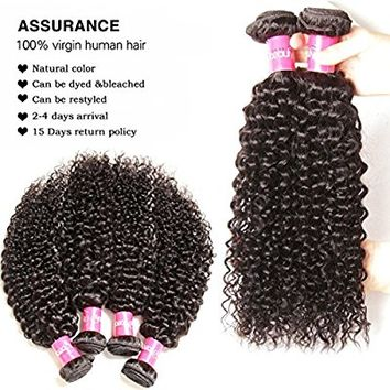 Sunber Hair Brazilian Virgin Hair Weaves Brazilian Curly Virgin Hair 3 Bundle, 100% Human Hair Extension (18 20 22inch)