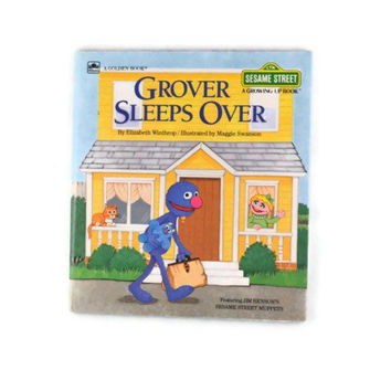Vintage 1984 Grover Sleeps Over By Elizabeth Winthrop, Grover Sleeps Over A Golden Book Sesame Street Muppets A Growing Up Book