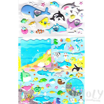 Large Sea Creatures Themed Whale Shark Dolphin Fish Puffy Stickers | 2 Sheets | Animal Themed Scrapbook Decorating Supplies