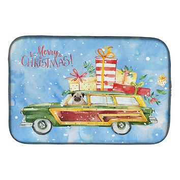 Merry Christmas Pug Dish Drying Mat CK2463DDM