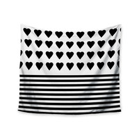 "Project M ""Heart Stripes Black and White"" Monochrome Lines Wall Tapestry"