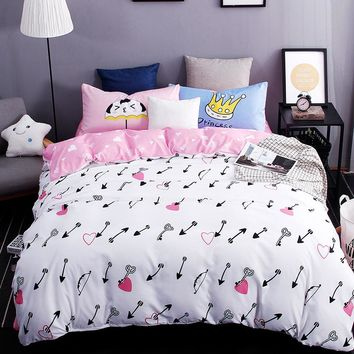 New printed bedding sest excellent imitation cotton love the arrow bed sheet quilt duvet cover pillowcase 3/4 pcs Queen Full Twi